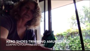 Trimming straps on Xero Shoes Amuri Cloud
